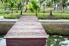 Wood bro i trädgård Royaltyfri Foto