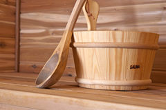 Wood bucket Royalty Free Stock Photography