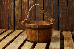 Wood bucket Stock Photography