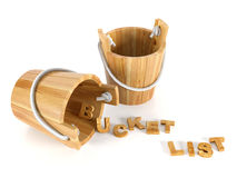 Wood buckets with letters on white background Stock Photo