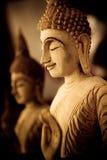 Wood buddha Stock Photo