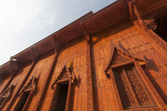 Wood Buddhist temple. In Thailand with the art of pattern Royalty Free Stock Photos