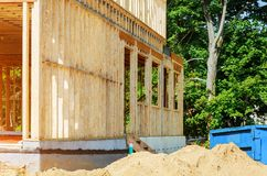 Wood building frame structure house under construction framing royalty free stock images