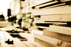 Wood Building Planks Stock Photo