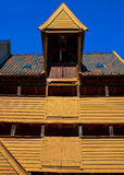 Wood building with tile roof, Bergen, Norway Stock Images