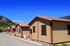 Wood bungalow houses in camping area Stock Images