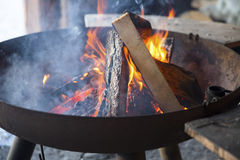 Wood burn in campfire outdoor Stock Images