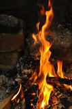 Wood burning on fire Stock Photo