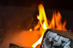 Wood burning on fire Royalty Free Stock Images