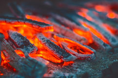 Wood burning. Fire flames and sparks on a dark background. Royalty Free Stock Photo