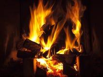 Wood burning in fireplace Stock Photo
