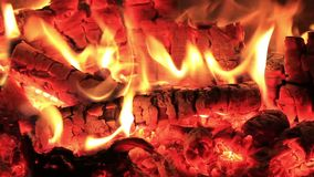 Wood burning fireplace stock video footage