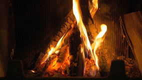 Wood burning in the fireplace. stock video