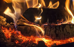 Wood burning in fireplace Stock Photo
