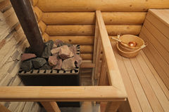 Wood-burning heater in sauna Stock Photo