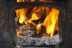 Wood burning in the stove Stock Image