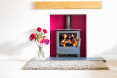 Wood Burning Stove with blazing log fire in a white room with fl. Wood burning stove, with blazing log fire, in a magenta coloured recess in a white room with a Royalty Free Stock Photography