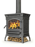 Wood burning stove. With fire flame on white background - 3D illustration Stock Photo