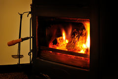 Wood burning stove Royalty Free Stock Images
