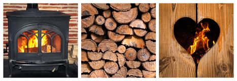 Wood burning stove and logs collage. Wood burning stove and logs photocollage Stock Images