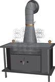 Wood Burning Stove. Smoking wood burning stove vector Stock Photo