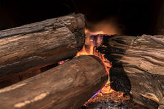 Wood burning. To cook at farm Stock Photos