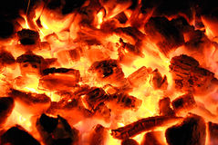 The wood burns on fire Royalty Free Stock Images