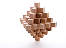Wood Burr. Interlocking wooden burr isolated on white Royalty Free Stock Photo