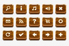 Wood buttons with different menu elements. Wooden square buttons with different menu elements for web or game design stock illustration