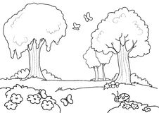 Cartoon wood for kids coloring Royalty Free Stock Photo