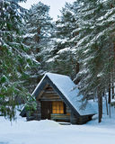 Wood cabin. Winter. trees and snow Stock Photography