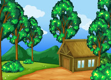 Wood cabin in the forest stock illustration