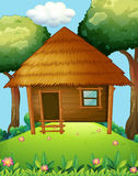 Wood cabin on the hill royalty free illustration