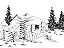 Free Wood Cabin House Graphic Black White Landscape Sketch Illustration Vector Stock Image - 171276501