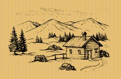 Wood cabin in mountains stock illustration