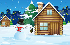 Wood cabin in the snow field royalty free illustration