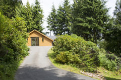 Wood cabin in the woods Stock Photo