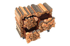 Wood cabinet logs. Wood cabinet chopped logs ethno style. 3D graphic Stock Photo