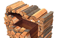 Wood cabinet logs, close view Royalty Free Stock Photo
