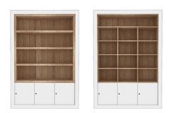 Wood cabinet. Set of Wooden Book Shelves Stock Photo