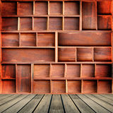 Wood cabinet shelf Royalty Free Stock Images