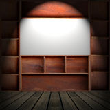 Wood cabinet shelf. Empty brown wood cabinet shelf stock photo