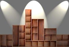 Wood cabinet shelf. Empty brown wood cabinet shelf royalty free stock photography