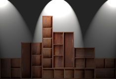 Wood cabinet shelf. Empty brown wood cabinet shelf royalty free stock images