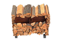 Wood cabinet, top view. Wood cabinet chopped logs, top view. 3D graphic Stock Photography