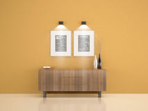 Wood cabinet on yellow wall with 2 frames and vase living room w Royalty Free Stock Photos