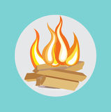 Wood camp fire flat design icon. Vector Stock Photo