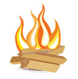 Wood camp fire flat design icon on white. Background Stock Images