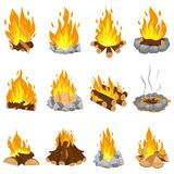 Wood campfire. Outdoor bonfire, fire burning wooden logs and camping stone fireplace cartoon vector illustration set stock illustration