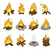 Wood campfire set, travel and adventure symbol royalty free stock photos